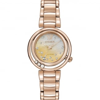 Ladies Sunrise Floating Diamond Rose Gold Eco-Drive Watch EM0323-51N