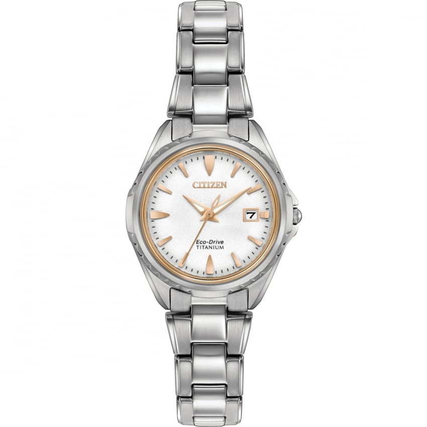 Citizen Ladies Titanium Eco-Drive Watch With Rose Gold Detail EW2410-54A