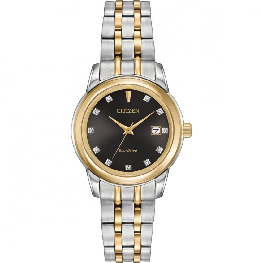 Citizen Ladies Two Tone Diamond Set Black Dial Watch EW2394-59E