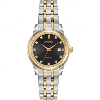 Ladies Two Tone Diamond Set Black Dial Watch