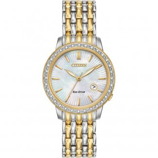 Ladies Two Tone Silhouette Diamond Eco-Drive Watch EW2284-57D