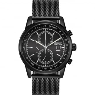 Men's Black Steel Mesh Chronograph Eco-Drive Watch CA0338-57E