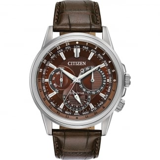Men's Calendrier Multifunctional Brown Leather Watch