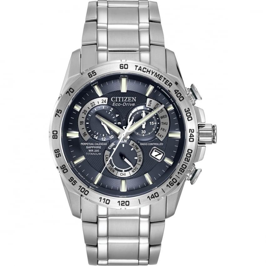 Citizen Men's Eco-Drive Perpetual Calendar Alarm Chrono Watch AT4011-57L