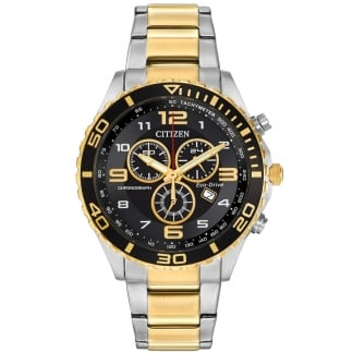 Men's Eco-Drive Two Tone Chronograph Watch AT2124-51E