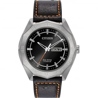 Men's Super Titanium Black Leather Day/Date Watch AW0060-03E