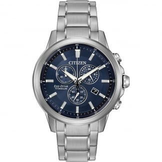 Men's Super Titanium Blue Dial Chronograph Watch AT2340-56L