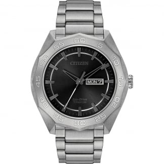 Men's Super Titanium Day/Date Eco-Drive Watch AW0060-54H