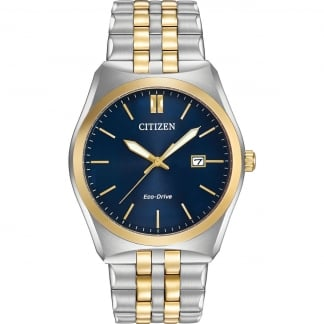 Men's Two Tone Blue Dial Eco-Drive Watch