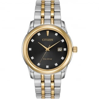 Men's Two Tone Diamond Set Eco-Drive Watch