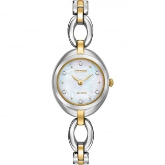 Two Tone Ladies Silhouette Crystal Watch EX1434-55D