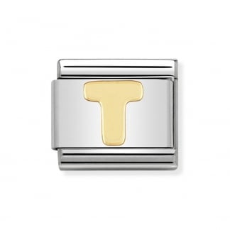 Classic Gold Initial 'T' Charm