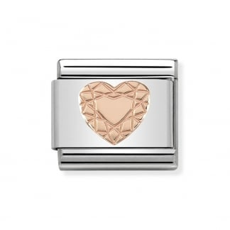 Classic Rose Gold Patterned Heart Charm