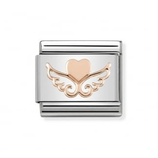 Classic Rose Gold Winged Heart Charm