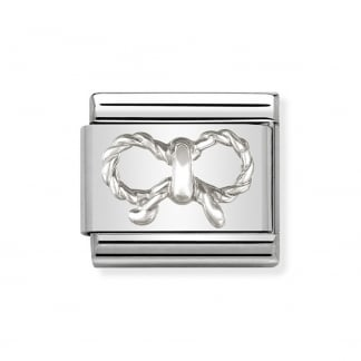 Classic Silvershine Embossed Bow Charm