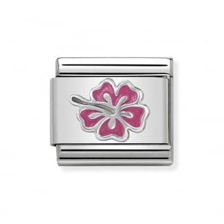 Classic Silvershine Pink Tropical Flower Charm