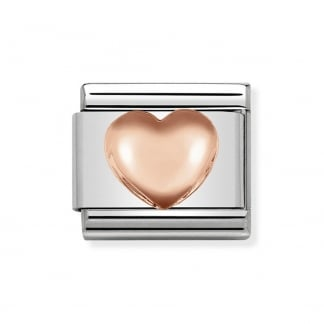 Classic Steel and Rose Gold 3D Heart Charm
