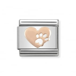 Classic Steel and Rose Gold Paw print Love Charm