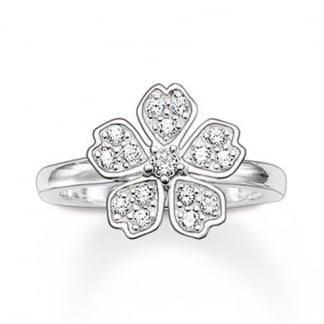 Clear Cubic Zirconia Flower Ring