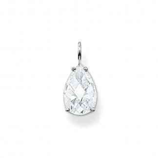 Clear Faceted Tear Drop Pendant
