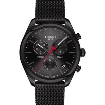 Men's Tissot PR 100 Black PVD Mesh Chronograph Watch - Shop Now