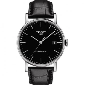 Men's Tissot Everytime Swissmatic Black Strap Watch - Shop Now