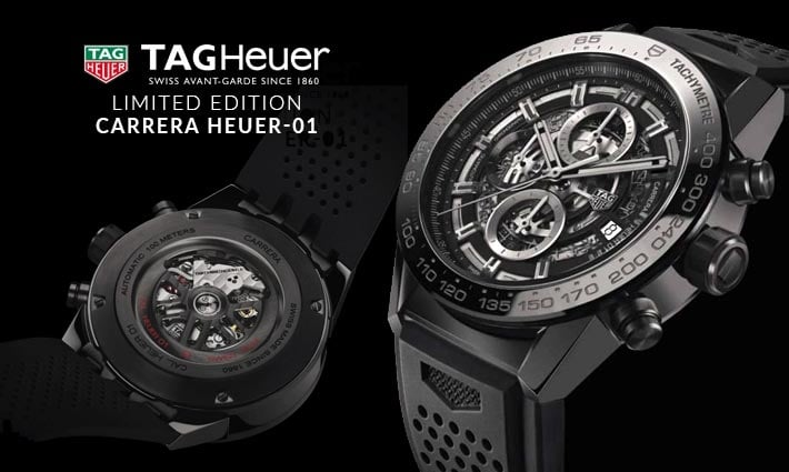 Men's TAG Heuer Carrera HEUER-01 Ceramic Automatic Skeleton Watch - Shop Now
