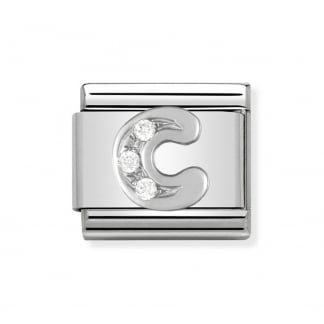Composable Silvershine Initial 'C' Charm