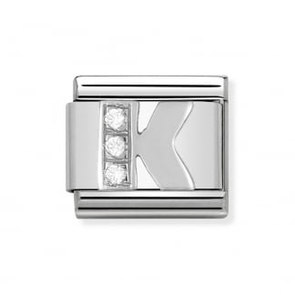 Composable Silvershine Initial 'K' Charm