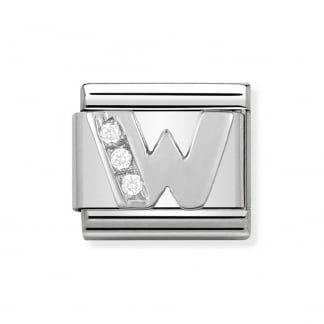 Composable Silvershine Initial 'W' Charm