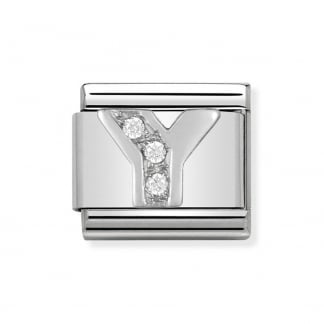 Composable Silvershine Initial 'Y' Charm