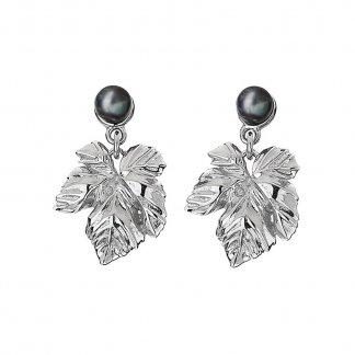 Cote dAzur Peacock Pearl Leaf Drop Earrings DE296