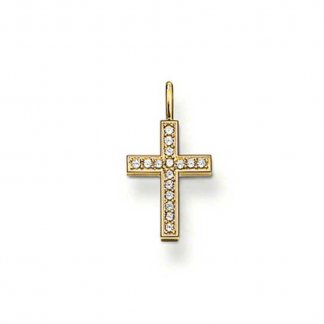 Crystal Set Gold Plated Cross Pendant