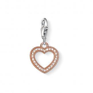 Crystal Set Rose Gold Heart Charm 0953-416-14
