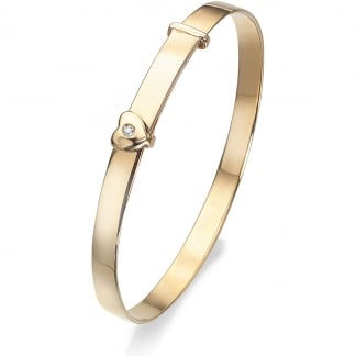 9ct Yellow Gold Expanding Baby Heart Bangle