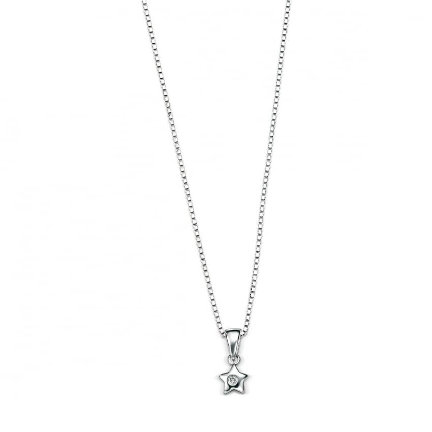 "D For Diamond Children's Silver Star Pendant & 14"" Chain P616"