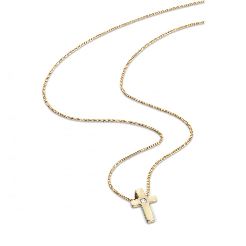 "D For Diamond Girl's 9ct Yellow Gold Cross Pendant & 14"" Chain GP173"