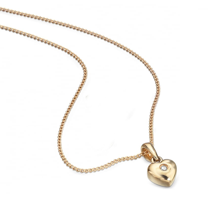 "D For Diamond Girl's 9ct Yellow Gold Heart Pendant & 14"" Chain GP077"