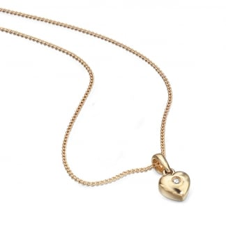 "Girl's 9ct Yellow Gold Heart Pendant & 14"" Chain GP077"