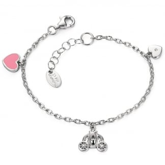 Girl's Double Heart and Fairy Carriage Bracelet B4782