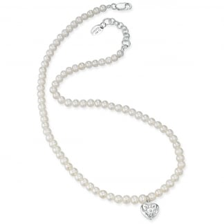 Girl's Freshwater Pearl Necklace with Filigree Heart Locket N2370W