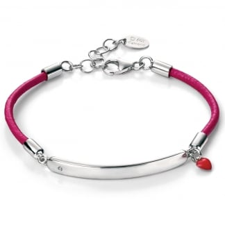 Girl's Fuchsia Cord with Enamel Heart ID Bracelet B4785