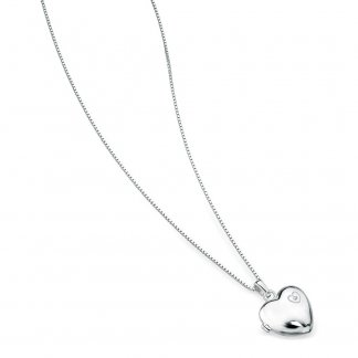 "Girl's Large Heart Locket & 14"" Silver Chain P2548"