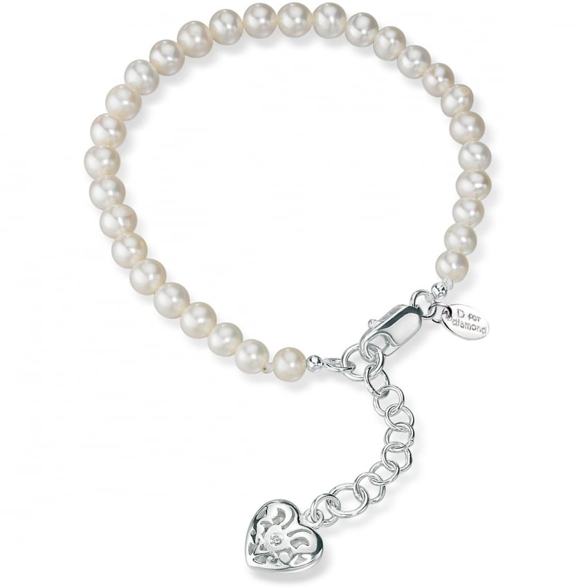 D For Diamond Girl's Pearl Bracelet With Filigree Heart Locket B2812W