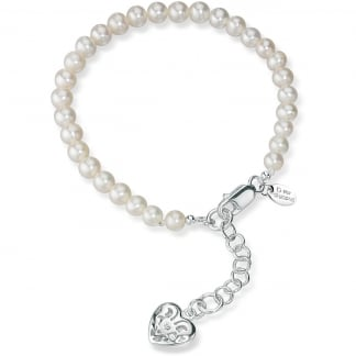 Girl's Pearl Bracelet With Filigree Heart Locket B2812W