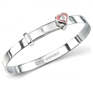 Girl's Pink Enamel Heart Bangle B4499