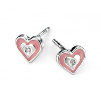 Girl's Pink Enamel Heart Stud Earrings