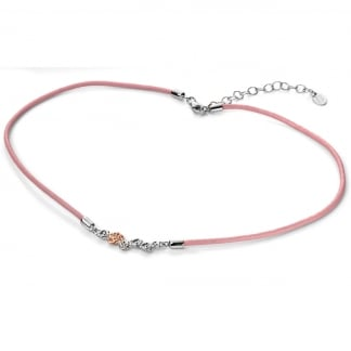 Girl's Pink Leather and Rose Gold Roses Necklace N4012