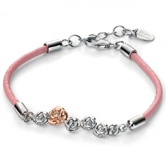 Girl's Pink Leather Roses with Rose Gold Bracelet B4784