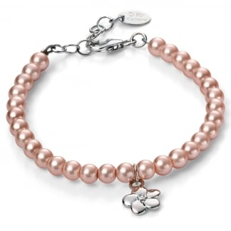 Girl's Rose Coloured Fresh Water Pearl Flower Bracelet B4787
